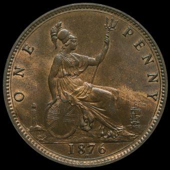 1876 H Queen Victoria Bun Head Penny Reverse