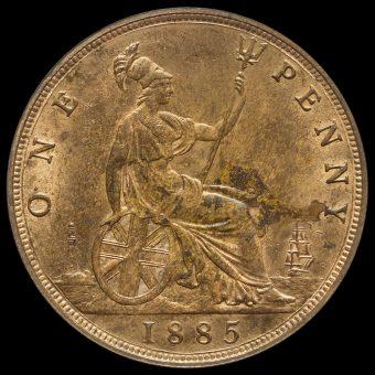 1885 Queen Victoria Bun Head Penny Reverse