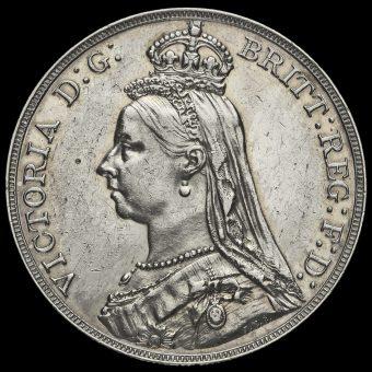 1888 Queen Victoria Jubilee Head Silver Crown Obverse