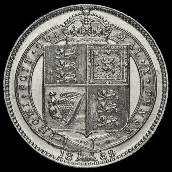 1889 Queen Victoria Jubilee Head Silver Shilling Reverse