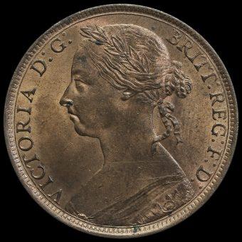 1890 Queen Victoria Bun Head Penny Obverse