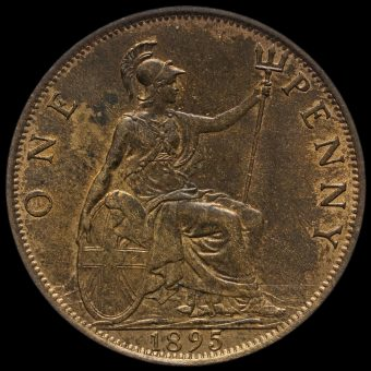 1895 Queen Victoria Veiled Head Penny Reverse