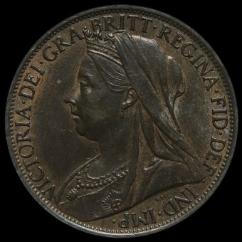 1898 Queen Victoria Veiled Head Penny Obverse