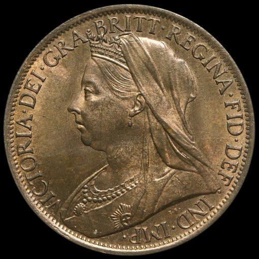 1898 Queen Victoria Veiled Head Penny Obverse