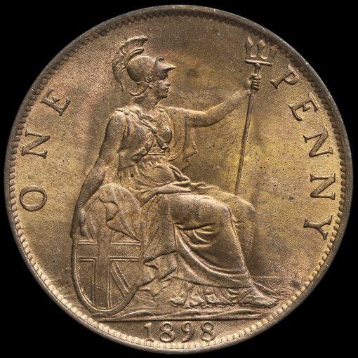 1898 Queen Victoria Veiled Head Penny Reverse