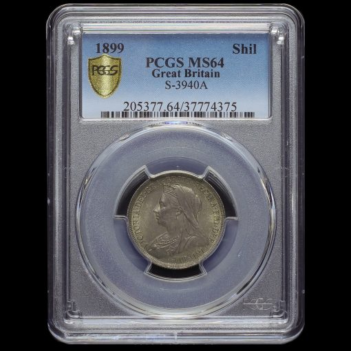 1899 Queen Victoria Veiled Head Silver Shilling PCGS MS64