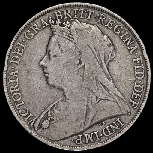 1900 Queen Victoria Veiled Head LXIII Silver Crown Obverse