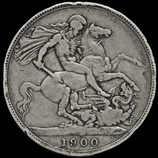 1900 Queen Victoria Veiled Head LXIII Silver Crown Reverse