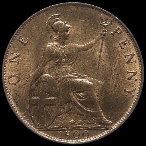 1900 Queen Victoria Veiled Head Penny Reverse
