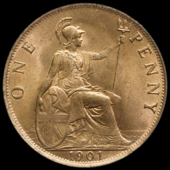1901 Queen Victoria Veiled Head Penny Reverse