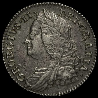 1757 George II Early Milled Silver Sixpence Obverse