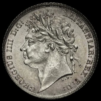 1825/3 George IV Milled Silver Sixpence Obverse