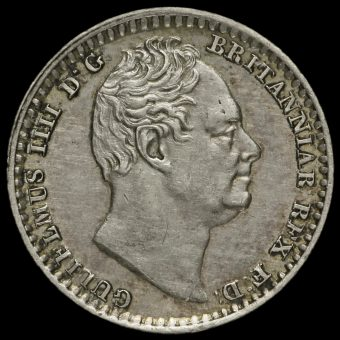 1833 William IV Milled Silver Maundy Penny Obverse
