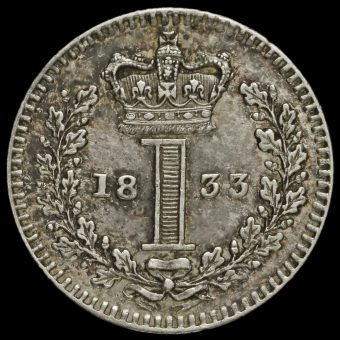 1833 William IV Milled Silver Maundy Penny Reverse