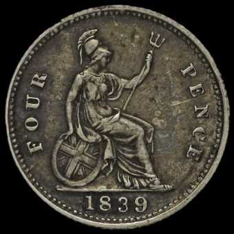 1839 Queen Victoria Young Head Silver Fourpence / Groat Reverse