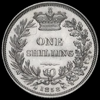 1858 Queen Victoria Young Head Silver Shilling Reverse