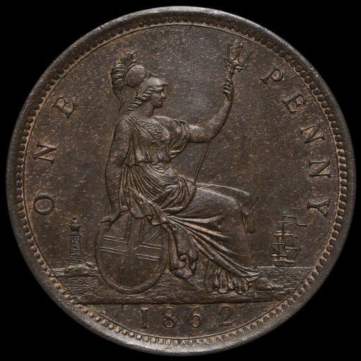 1862 Queen Victoria Bun Head Penny Reverse