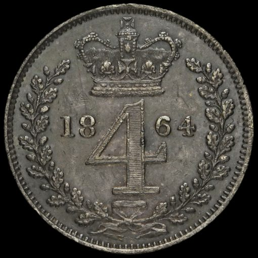 1864 Queen Victoria Young Head Silver Maundy Fourpence Reverse