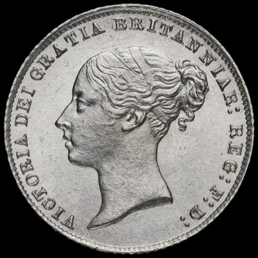 1865 Queen Victoria Young Head Silver Sixpence Obverse