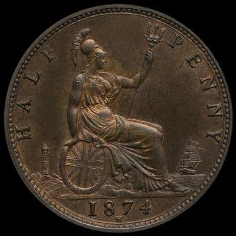 1874 H Queen Victoria Bun Head Halfpenny Reverse