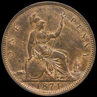 1874 Queen Victoria Bun Head Penny Reverse