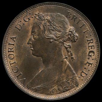 1876 H Queen Victoria Bun Head Halfpenny Obverse
