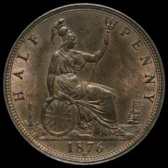 1876 H Queen Victoria Bun Head Halfpenny Reverse
