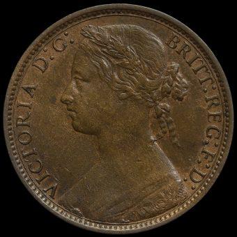 1876 H Queen Victoria Bun Head Penny Obverse