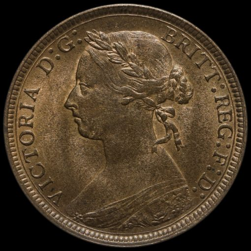 1884 Queen Victoria Bun Head Halfpenny Obverse