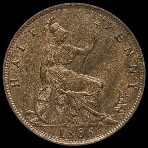 1886 Queen Victoria Bun Head Halfpenny Reverse