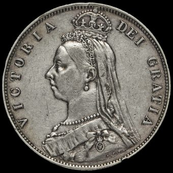 1889 Queen Victoria Jubilee Head Silver Half Crown Obverse