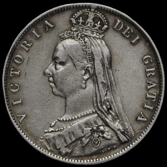 1890 Queen Victoria Jubilee Head Silver Half Crown Obverse