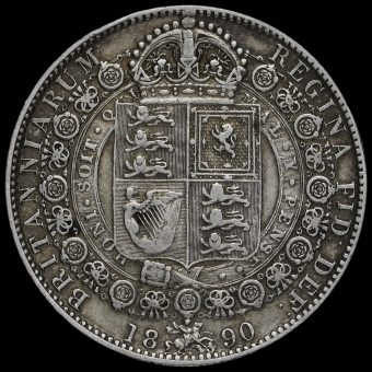 1890 Queen Victoria Jubilee Head Silver Half Crown Reverse