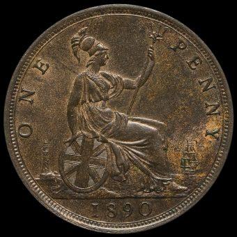 1890 Queen Victoria Bun Head Penny Reverse