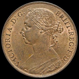 1891 Queen Victoria Bun Head Penny Obverse