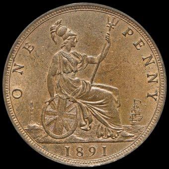 1891 Queen Victoria Bun Head Penny Reverse