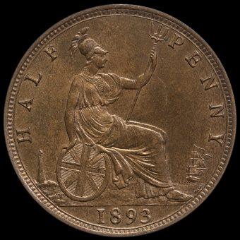 1893 Queen Victoria Bun Head Halfpenny Reverse