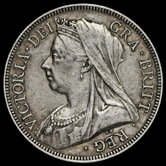 1893 Queen Victoria Veiled Head Silver Half Crown Obverse