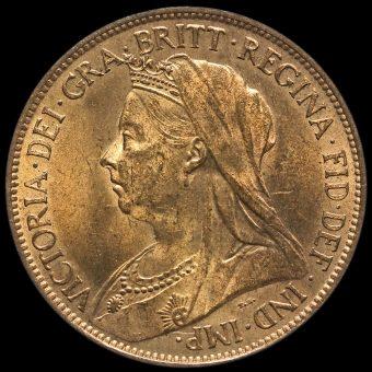 1895 Queen Victoria Veiled Head Halfpenny Obverse