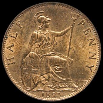 1895 Queen Victoria Veiled Head Halfpenny Reverse