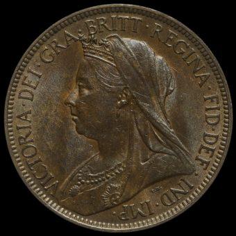 1898 Queen Victoria Veiled Head Halfpenny Obverse