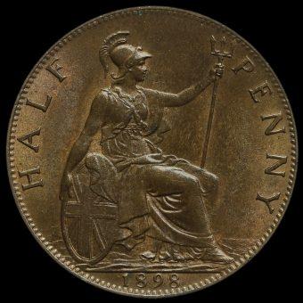 1898 Queen Victoria Veiled Head Halfpenny Reverse