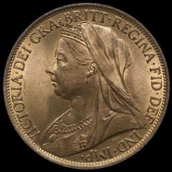 1899 Queen Victoria Veiled Head Penny Obverse