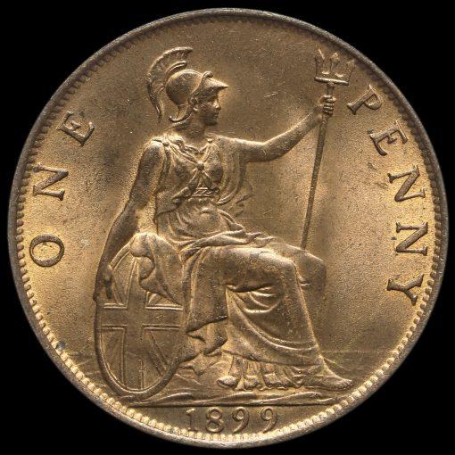 1899 Queen Victoria Veiled Head Penny Reverse