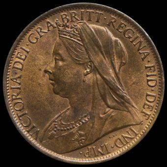 1901 Queen Victoria Veiled Head Penny Obverse