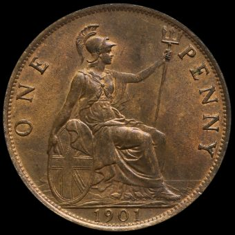 1901 Queen Victoria Veiled Head Penny Reverse