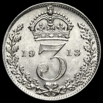 1913 George V Silver Threepence Reverse