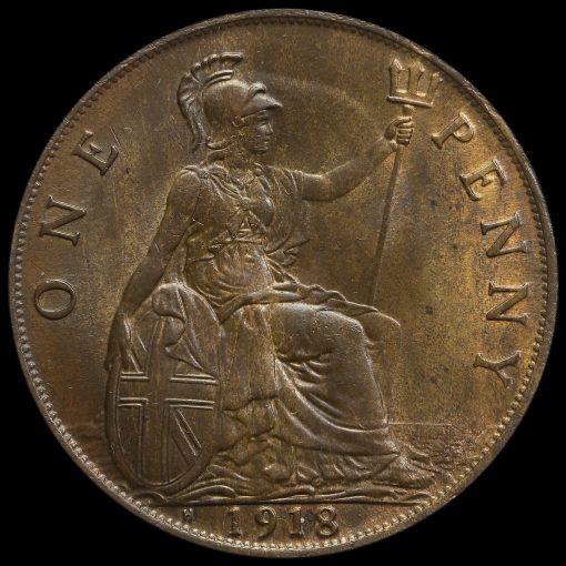 1918 H George V Penny Reverse