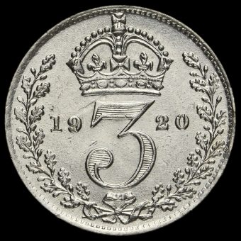 1920 George V Silver Threepence Reverse