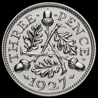 1927 George V Silver Proof Threepence Reverse